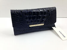 NWT BRAHMIN Soft Checkbook Trifold Wallet INK Blue Leather Retail $175 FREE SHIP