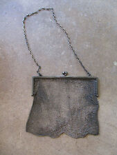vintage Victorian 1900 era Sterling Silver Mesh Purse bag