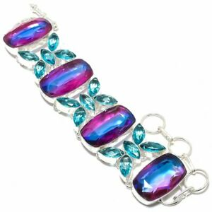 "Bi-Color Tourmaline, Blue Topaz Gemstone 925 Sterling Silver Bracelet 7-8"" T738"