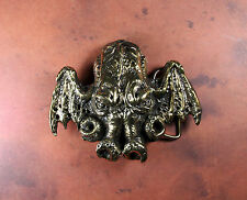 Cthulhu Belt Buckle - Antique Brass Finish Lovecraft Necronomicon