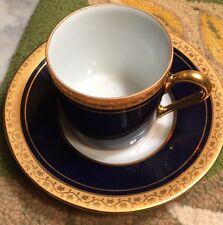 Limoges France Cobalt Blue Gold Porcelain Demitasse Cup Saucer