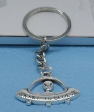 Free Ship 1pcs Silver Plated Metal UFO Charms Key Ring Keychain Jewelry