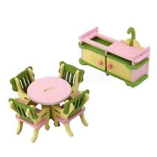 6pcs Wooden Doll House Furniture Dinning Room Set Kids Role Pretend Play Toy