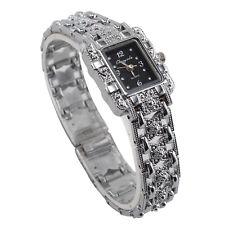 New Lady Diamond Bracelet Watch Silver Rectangle Dial Quartz Crystal Wristwatch