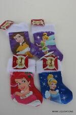 LOT of 4 Holiday Mini Stockings Princess Ariel Cinderella Belle Tinkerbell Xmas
