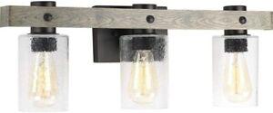 Farmhouse Bathroom Vanity 3 Light Fixture Sconce Wall Glass Black Metal Wood New
