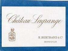 ST JULIEN 3EGCC VIEILLE LITHOGRAPHIE CHATEAU LAGRANGE 1880/1890 EXPORT §30/09§