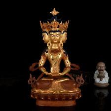 Beautifully Tibet Buddhism copper gilt hand painting Tathagata Buddha statue