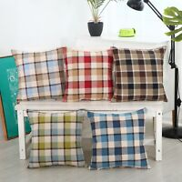 """17"""" X 17"""" Check Design Linen Cushion Covers 5 Colours with Cushion Pillow Cotton"""