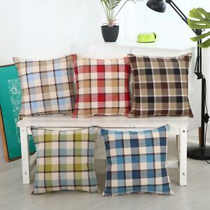 "17"" X 17"" Check Design Linen Cushion Covers 5 Colours Pillow Cotton Scatter Sofa"