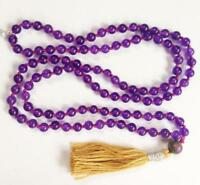 6MM Natural purple crystal gemstones Mala knotted Necklace Buddhist Prayer Beads