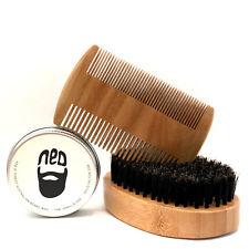 Deluxe Beard Comb, Brush and Moustach Wax Kit NED Vanilla. mens gift idea