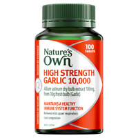 Nature's Own High Strength Garlic 10000mg 100 Tablets Immune Health Natures