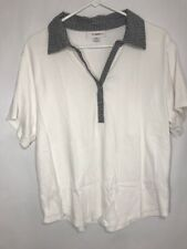 Dress Barn Woman 14/16 White Blouse 100% Cotton T-shirt Black Collar Snap Front