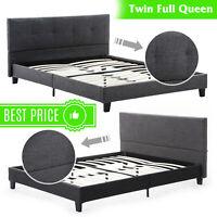 Twin Full Queen Size Bed Frame Platform Upholstered Headboard & Slats Bedroom