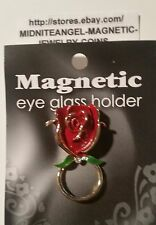 BIG RED ROSE 1 Small Crystal MAGNETIC EYE GLASS HOLDER