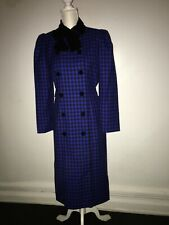 Oscar de la Renta Vintage Plaid Dress Coat Velvet Bow Collar Sz 10