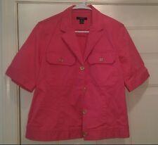 Chaps Woman's Pink Jean Button Down Shirt OR Light Jacket Size XL