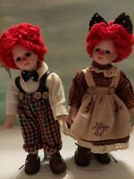 """8"""" Doll Raggedy Ann & Andy Set Matching with Stands"""