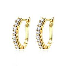 Women's Hoops Earrings 18K Yellow Gold Filled Fashion Jewelry CZ Gift