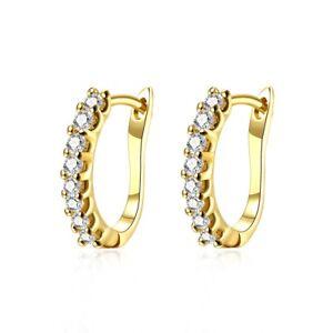 Wedding Hoops Earrings for Women's 18K Yellow Gold Filled Fashion Jewelry 16mm