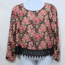 Women's XL by Xhilaration Cute Black w/ Floral Pattern Sheer Crochet Hem Blouse