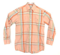 Lacoste Alligator Mens Long Sleeve Orange Plaid Dress Shirt Size EUR 40 Large