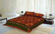 Handmade Sanganeri Antique Design Red 100% Cotton Bed Sheet With 2 Pillow Covers