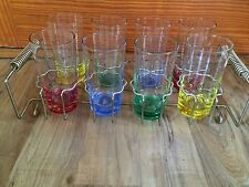 Set Of 8 Vintage Yellow Pink Blue Green  Drinking Glasses Tumblers With Holder