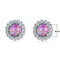 Fashion Jewelry Pink White Fire Opal Gems Silver Stud Earrings
