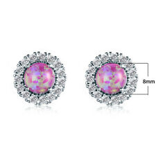 Fashion Jewelry Pink White Fire Opal Gems Silver Stud Earrings
