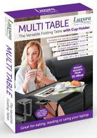Black Full Height Folding Table With Cup Holder Bedside Adjustable Portable Desk