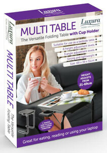 Black Full Height Folding Table With Cup Holder Bedside Adjustable Portable Desk