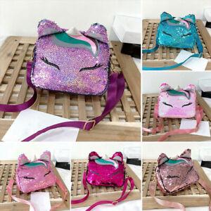 Cute Cartoon Unicorn Shiny Sequins Mini Handbag Girls School Travel Shoulder Bag