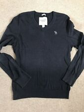 abercrombie & fitch Mens Navy Wool  Knit Light Jumper Size Medium