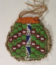 1890s NATIVE AMERICAN CHEYENNE INDIAN BEAD DECORATED HIDE POUCH / MEDICINE BAG