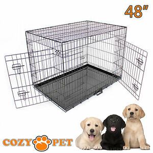 Dog Cage 48 inch Black Cozy Pet Dog Crate XXL Folding Puppy Cage Travel Metal