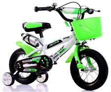 """12"""" Zoll Kinderfahrrad mit Stützräder Korb Trinkflaschenhalterung weiß-grün"""