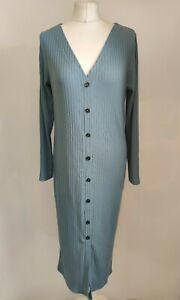 New River Island Women Midi Rib Dress Blue Light V Neck Button Front Plus UK 16
