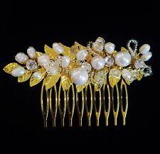 USA HAIR COMB use Swarovski Crystal Wedding Bridal Dancer French Twist Gold 14