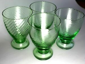 VINTAGE Depression Glass Green SWIRLED OPTIC 7oz Footed TUMBLERS Set of 4