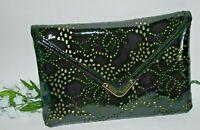 ELAINE TURNER Bella Clutch Black LASER CUT SHINEY PATENT Envelope Clutch NWT