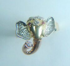 Elephant Diamond 0.10 Ct & Ruby 0.02 Ct Ring 14K Yellow Gold Ring Size 7.5 Fine