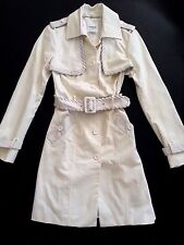NWT bebe ivory white textured trim belt top dress coat jacket trench S Small