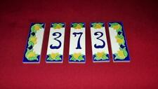 Creazioni Luciano Hand-painted Ceramic Tile Numbers 373 and Ends Made in Italy