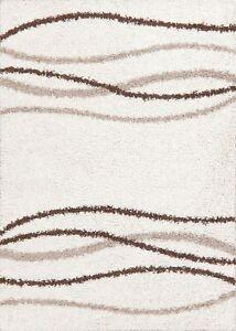 Abstract White Shaggy Modern Turkish Oriental Area Rug Soft Plush Carpet 5x7 ft