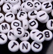 6-7mm White  Black Acrylic Disc Flat Round Letter Alphabet Beads spacer (100)
