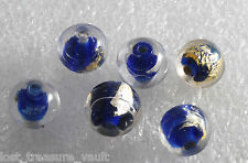 Vintage Glass Beads Lot of 6 Blue Lined Clear Foil Center Round Lampwork 10mm