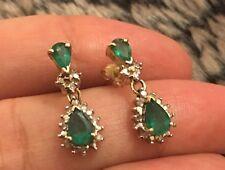 Designer 14ct Art Deco Yellow Gold Emerald Diamond Pear Drop Earrings