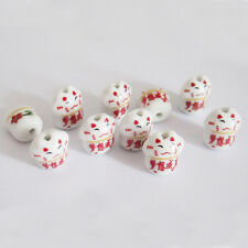 10Pcs Porcelain Lucky Word Cat Beads Finding